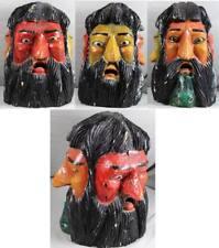 alte geschnitzte Holzmaske - 3 Gesichter farbig bemalt 42 cm. - ca. 2144 Gr. /O