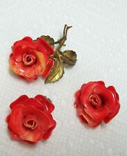 Vintage Celluloid ROSE Pin & Earrings