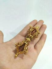 "3.8"" Old Tibet Buddhist Bronze Gilt Dorje Phurpa Mahakala Buddha Vajra Dagger"