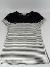 H&M Women's T-Shirt Cotton with Black Lace Top Black Stripe Size S