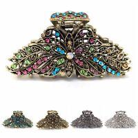 USA Woman XLarge elegant metal flowers rhinestones crystal hair claw Clip pin