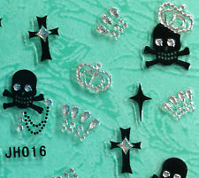 Nail Art 3D Sticker Silver Crystal Crown on Black Skulls Cross 30pcs Halloween