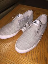 Quick Silver Mens Shoes 9 Medium Canvas Grey Linen boat Lace Up Shoes NEW