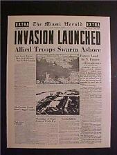 VINTAGE NEWSPAPER HEADLINE ~WORLD WAR NAZI FRANCE US ARMY INVASION D-DAY WWII~
