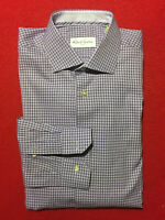ROBERT GRAHAM PURPLE HOUNDSTOOTH CHECK CONVERTIBLE CUFF TEXTURED COTTON 16/34 LG