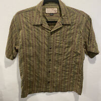 Prana Mens Large Button Front Shirt Brown Red Striped Plaid Short Sleeve