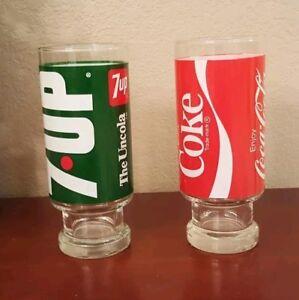 1960s Anchor Hocking 16 oz. 7-Up & Coca Cola Glasses, Coke The Uncola MCM RETRO