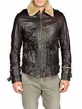 DIESEL LETRIC BROWN LEATHER JACKET SIZE L 100% AUTHENTIC