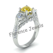 Brilliant Cut Citrine Gemstone & White Stone 925 Silver Traditional Ladies Ring