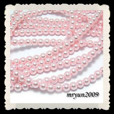 FREE 200pcs Acrylic Plastic pink shell Imitation pearl round Spacer beads 6mm