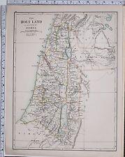 1889 Grande Antico MAP ~ Terra Santa assegnato da Joshua MANASSE EPHRAIM
