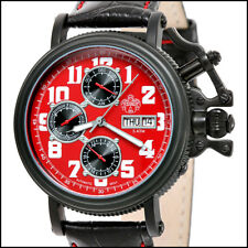 S.U.G. REVOLVER MEN'S 20J AUTOMATIC WATCH NEW RED DIAL SUG BLACK LEATHER STRAP