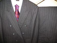 Aquascutum of London Mens Double Breasted Black Pinstripe Suit Blazer Pants 42 R