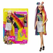 Barbie Rainbow Sparkle Hair Doll with Accessories Glitter Doll NEW