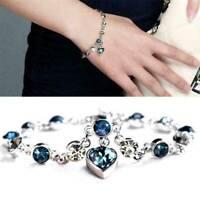 Women Ocean Heart Crystal 925 Silver Soild Chain Jewelry Bracelet Bangle Gift