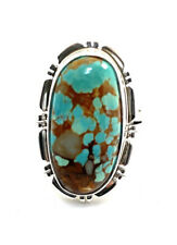 Native American Sterling Silver Navajo Handmade Kingman Turquoise Ring Size 10