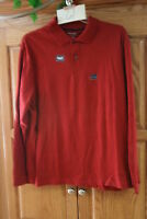NEW MENS ST JOHNS BAY SUEDED  RED LONG SLEEVE POLO SHIRT SIZE LARGE