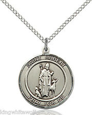 Bliss St Hubert Patron Saint Sterling Silver Medal Pendant Necklace w/Chain
