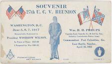 BLUE & GRAY REUNION 1917 WASHINGTON DC UCV CARD ~CAPT PHELPS ATLANTA GA