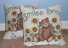 American Mills Smiles Bring Sunshine 13 x 13 Decorative Pillows Set of 2 New