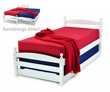 3ft Single White Wooden Bed With Trundle Guest Bed Only - Mattresses in Shop