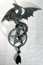 Dragon/Pentagram Dream Catcher- Cold Cast resin with Crystal. two sided detail