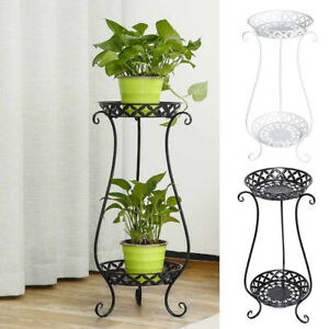 2 Tier Metal Plant Pot Stand Flower Display Shelf Garden Balcony Outdoor Indoor