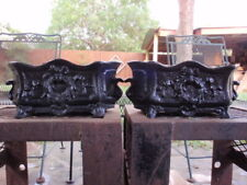 Two 19.4 lbs) Antique? Cast Iron Jardinier Urn Footed Planters Laurel Wreath Bow