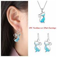 New Elegant Gift Fashion Women Chain Opal Necklace Cat Pendant Earrings Jewelry