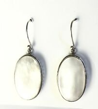 Sterling Silver Oval Mother Of Pearl  Circles Border Dangle Earrings On Hooks.