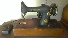 Antique Singer Sewing Machine WORKING WITH CASE AND FOOT SWITCH 1920's - 1930's