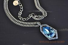 Givenchy Necklace Sapphire Blue Swarovski Elements Teardrop Pendant Faceted New