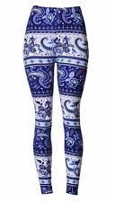 VIV Collection Printed Brushed Leggings - Paisley Dusk