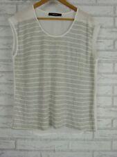 DECJUBA Top/Blouse Sz M White, Gray Stripe Print