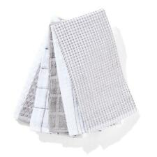 Tea Towels Pack of 5 Terry Tea Towel White And Grey Cotton 40cm x 63cm BRAND NEW