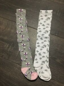 BABY GIRL'S COTTON RICH TIGHTS GREY WHITE BUTTERFLIES 0-3-6-9-12-18-24