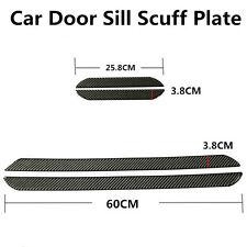 4x Car Door Panel Step Protector DoorSill Scuff Plate Cover Carbon Fiber 25+60cm