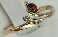 Vintage Original Rose Gold Ring with Cubic Zirconia 585 14K