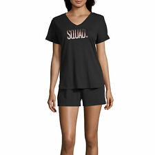 Ambrielle Sleepwear Tee Shorts PJ Set Bridal Squad Black Cotton NWT