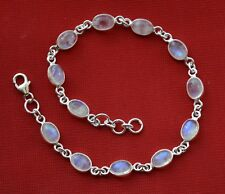 925 Solid Sterling Silver Bracelet Natural Rainbow Moonstone Sizable JSRMB02