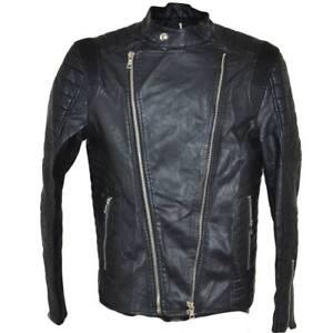 Giubbotto giacca uomo in eco pelle nero linea slim fit moda uomo con taschini e