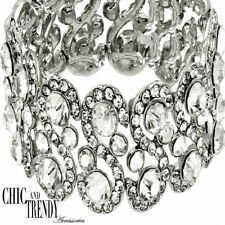 High End Clear Glass Crystal Wide Bracelet Formal Wedding Chic & Trendy Jewelry
