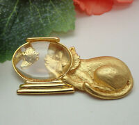 Vintage JJ Jonette Cat Lucite Fishbowl Gold Tone Bubble Pin Brooch