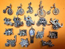 Vintage sterling silver charms STEAM LOCOMOTIVE HORSE CARRIAGE ANTIQUE BIKE