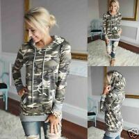 WOMENS CAMOUFLAGE PRINTING POCKET HOODIE SWEATSHIRT GOODED PULLOVER TOPS BLOUSE