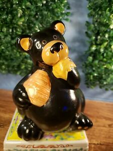 Bear Eating honey Figurine piggy bank 7 in