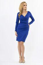 Women's Wiggle Dress V Neck Wrap Dress Long Sleeve Pencil Tunic Sizes 8-18 FA222