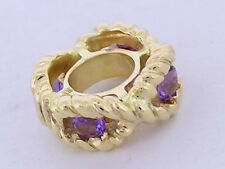 Bd017- SUPERB 9ct SOLID Yellow Gold NATURAL Amethyst Rope Bead Charm