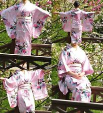 Japanese kimono Yukata Geisha best dress women gown Haori Floral with Obi Pink