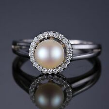 8mm  White Freshwater Pearl & Cubic Zirconia Halo Sterling Silver Ring Size 8